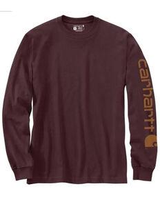 Carhartt Men's Wine Logo Graphic Long Sleeve Heavyweight Work T-Shirt , Wine, hi-res