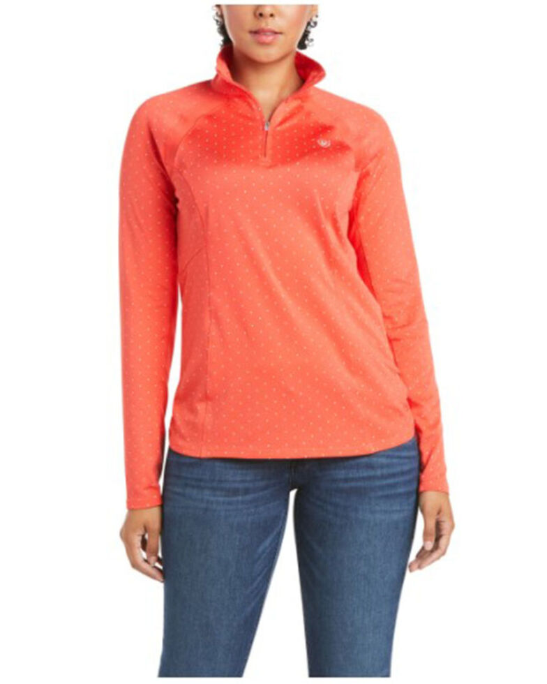 Ariat Women's Coral Dot Print Sunstopper 2.0 1/4 Zip Pullover , Coral, hi-res