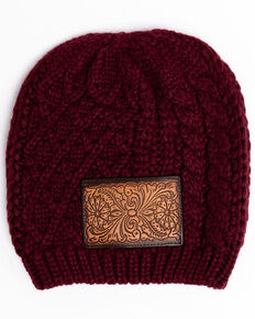 Shyanne Women's Wine Chunky Knit Leather Patch Beanie, Wine, hi-res
