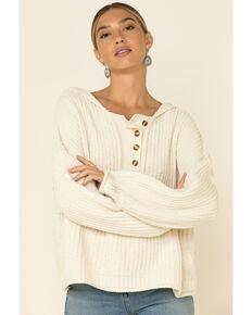 POL Women's Chenille Hooded Henley Sweater , Ivory, hi-res