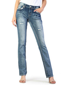 Grace In LA Women's Mid Flap Pocket Boot Jeans , Blue, hi-res