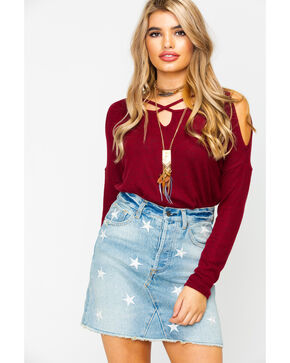 Moa Moa Women's Cross Neck Cozy Cold Shoulder Long Sleeve Top , Burgundy, hi-res