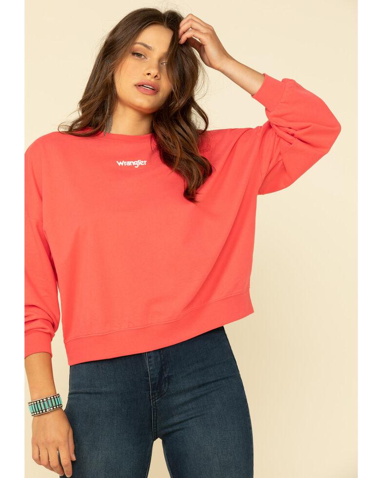 Wrangler Modern Women's Dark Fuchsia Logo Crop Pullover, Dark Pink, hi-res