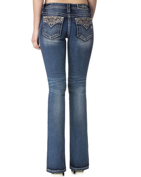 Miss Me Women's Enchanted Beauty Mid-Rise Boot Cut Jeans , Indigo, hi-res