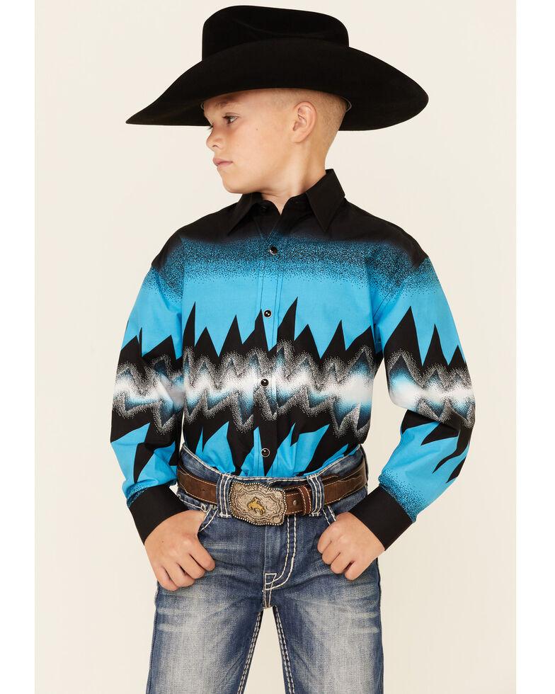 Dale Brisby Boys' Turquoise Thunder Border Print Long Sleeve Snap Western Shirt , Black, hi-res