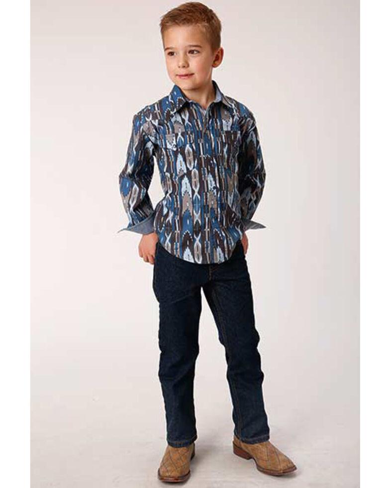 Roper Boys' West Made Midnight Aztec Print Long Sleeve Western Shirt , Blue, hi-res