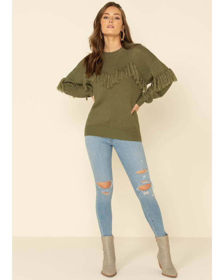 Flying Tomato Women's Fringe Tassel Front Sweater , Olive, hi-res