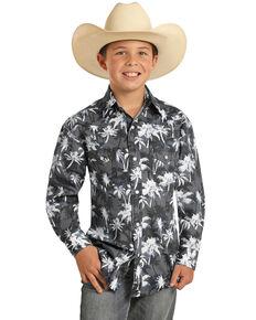 Rock & Roll Denim Boys' Grey Palm Floral Print Long Sleeve Snap Western Shirt , Grey, hi-res