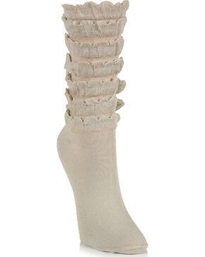 K.Bell Women's Mini Ruffle Crew Socks, Cream, hi-res