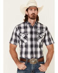 Jack Daniel's Men's Black Large Plaid Logo Short Sleeve Snap Western Shirt , Black, hi-res