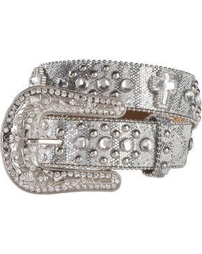 Shyanne Girls' Silver Glitter Cross Belt, Silver, hi-res