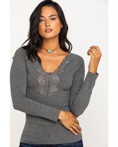 Idyllwind Women's Grey Cozytown Lace Henley, Heather Grey, hi-res