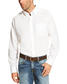 Ariat Men's White Wrinkle Free Button Long Sleeve Western Shirt - Tall , White, hi-res