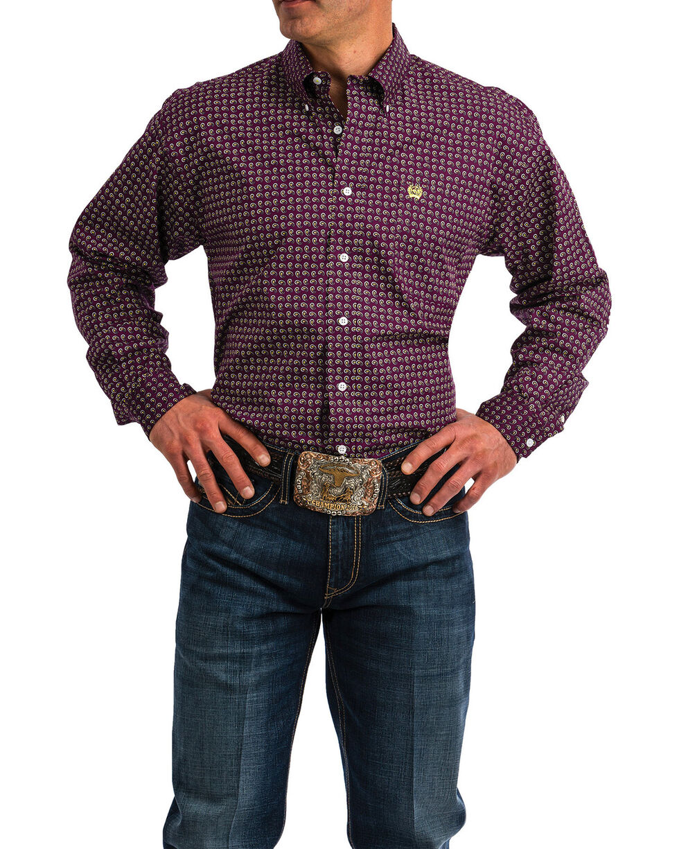 Cinch Men's Small Paisley Print Long Sleeve Western Shirt , Purple, hi-res
