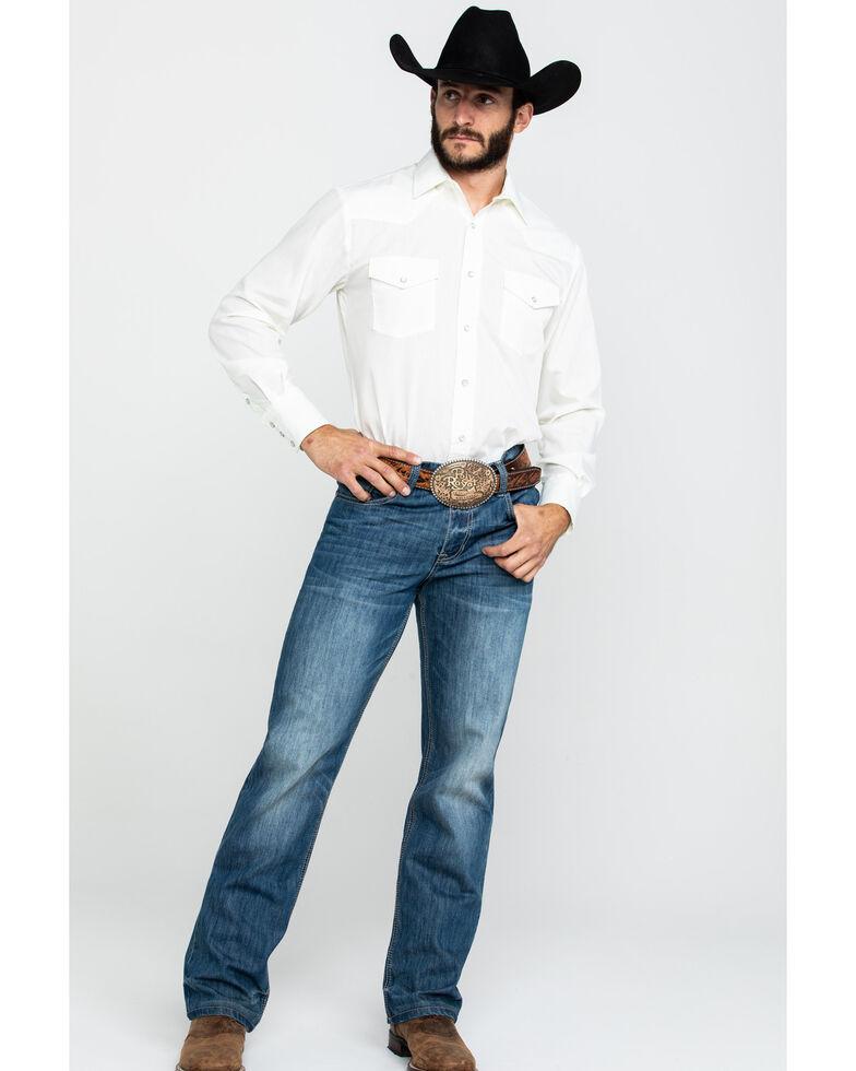 Roper Men's Warm Cream Solid Long Sleeve Western Shirt , White, hi-res
