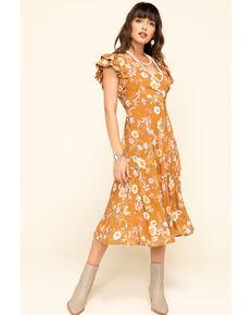 Nikki Erin Women's Brown Floral Surplice Dress, Brown, hi-res