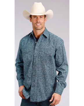 Stetson Men's Blue Print Long Sleeve Snap Shirt, Blue, hi-res