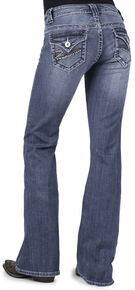 Stetson Women's 816 Classic Fit Rhinestone Flap Pocket Jeans, Denim, hi-res