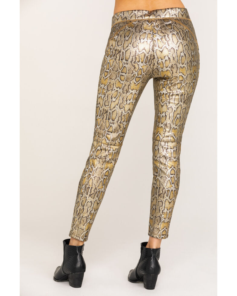 Free People Women's Gold Rio Snake Print Pull On Skinny Leggings , Gold, hi-res