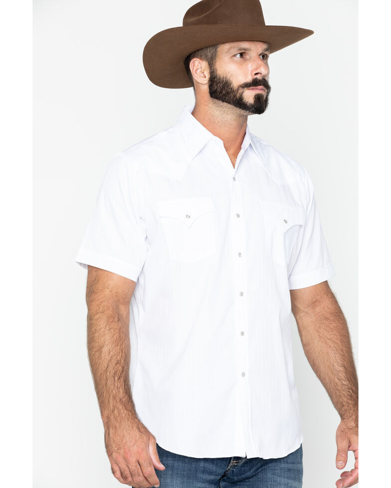 Ely Cattleman Men's Tonal Dobby Striped Short Sleeve Western Shirt, White, hi-res
