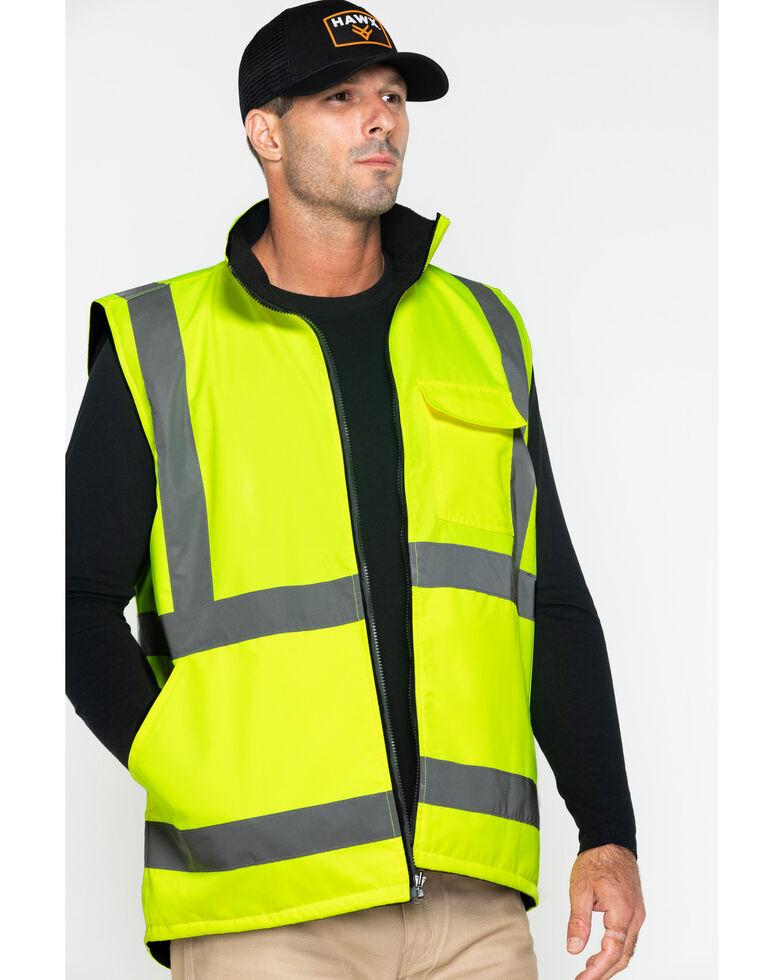 Hawx® Men's Reversible Work Vest, Yellow, hi-res