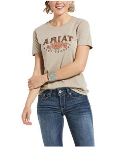 Ariat Women's Oatmeal Heather Roses & Thorns Graphic Tee , Oatmeal, hi-res