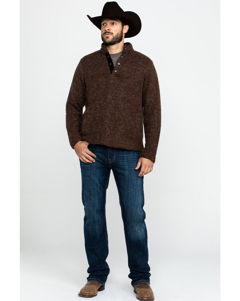 Outback Trading Co. Men's Ridley Henley Sweatshirt , Brown, hi-res