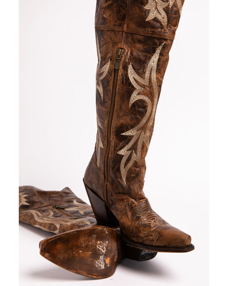 Dan Post Women's Chestnut Jilted Knee Boots - Snip Toe , Chestnut, hi-res