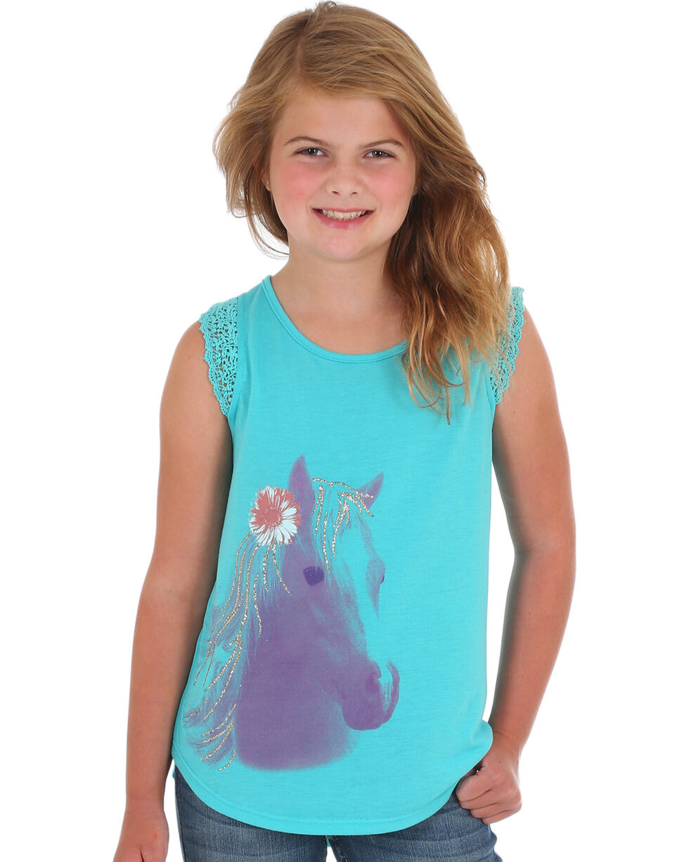Wrangler Girls' Turquoise Horse Graphic Top , Turquoise, hi-res