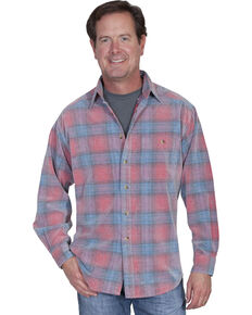 Scully Men's Yard Dye Corduroy Plaid Long Sleeve Western Shirt, Red, hi-res