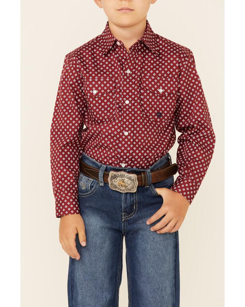 Roper Boys' Diamond In The Rough Geo Print Long Sleeve Snap Western Shirt , Burgundy, hi-res