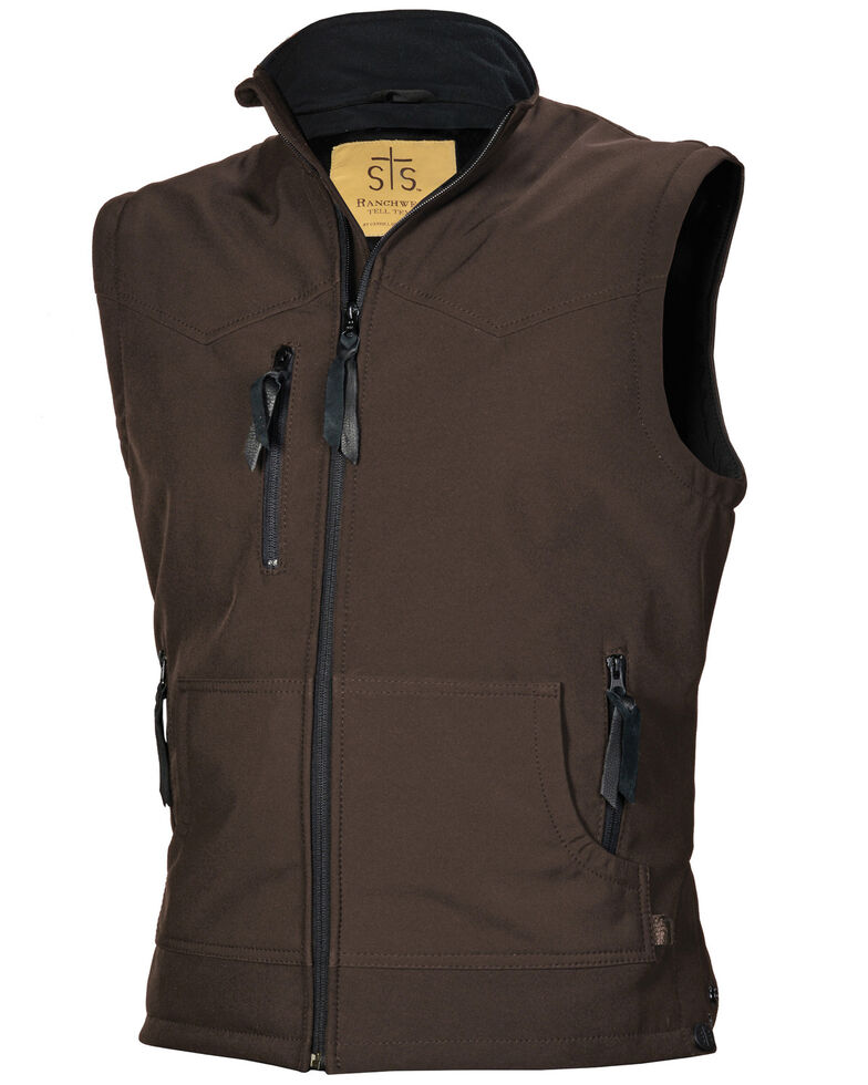 STS Ranchwear Men's Brown Barrier Vest - Big , Brown, hi-res