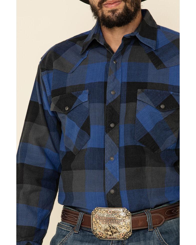 Resistol Men's Blue Montreal Large Plaid Long Sleeve Western Shirt , Blue, hi-res
