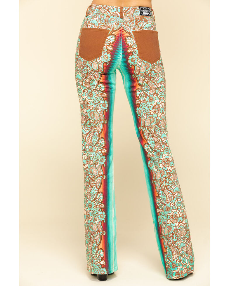 Ranch Dress'n Women's Durango Printed Trousers , Turquoise, hi-res