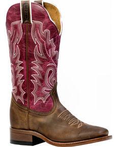 Boulet Women's Hillbilly Golden Lava Magenta Western Boots - Square Toe, Brown, hi-res