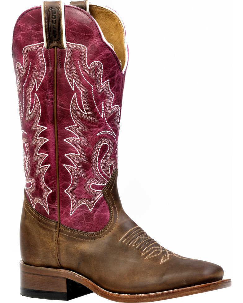 Boulet Women's Hillbilly Golden Lava Magenta Western Boots - Square Toe, Brown, hi-res
