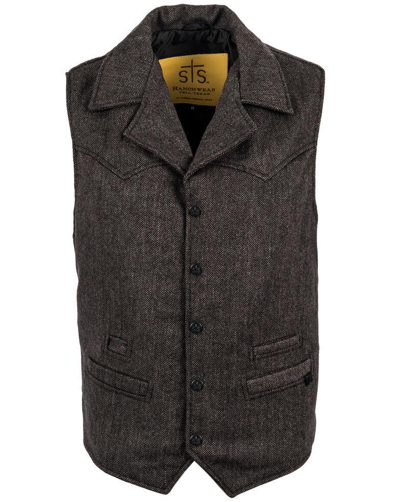 STS Ranchwear Men's Black Wool Gambler Vest - Big , Black, hi-res