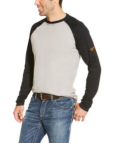 Ariat Men's FR Long Sleeve raglan T-Shirt - Big, Grey, hi-res