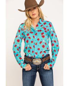 Five Star Women's Blue Rose & Steer-head Long Sleeve Western Shirt , Blue, hi-res