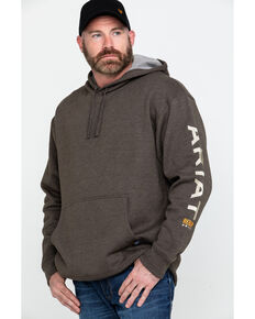Ariat Men's Heather Bark Rebar Graphic Hooded Sweatshirt - Big & Tall , Bark, hi-res