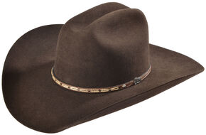 Justin 7X Bent Rail Bear Down Chocolate Cowboy Hat, Chocolate, hi-res