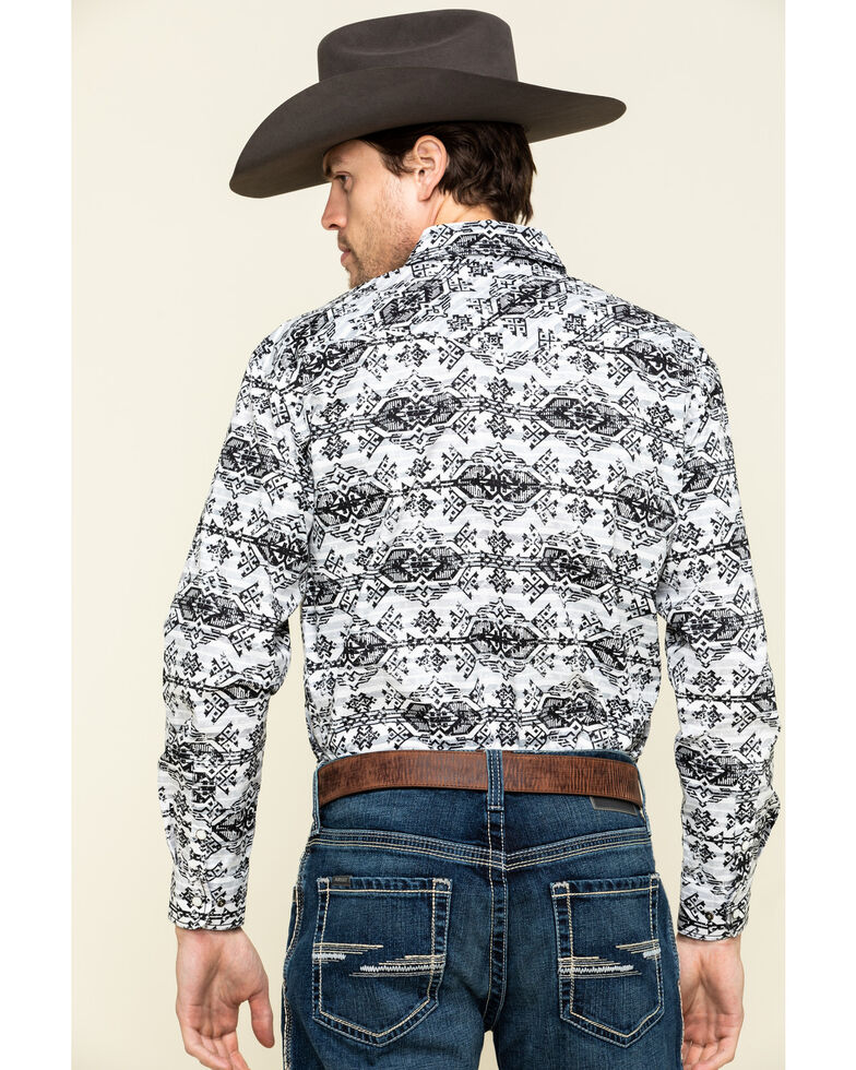Rough Stock By Panhandle Men's Natrona Aztec Print Long Sleeve Western Shirt , Light Grey, hi-res