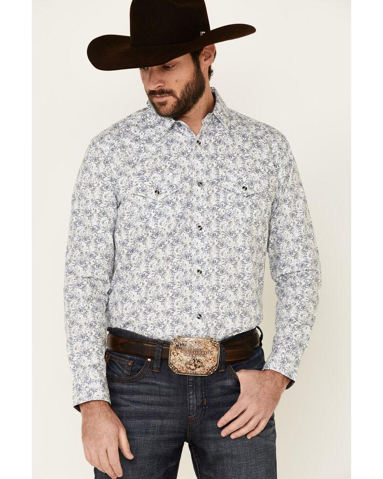 Cody James Men's Painted Paisley Print Long Sleeve Snap Western Shirt - Big, Ivory, hi-res