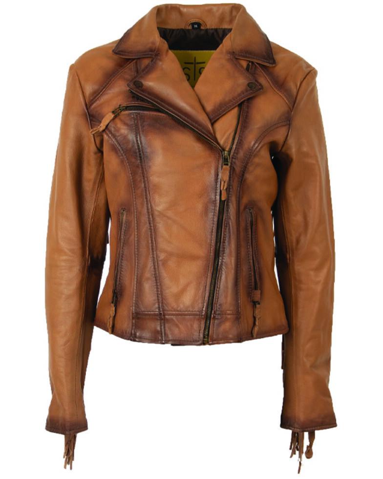 STS Ranchwear Women's Chenae Fringe Leather Jacket - Plus, Camel, hi-res