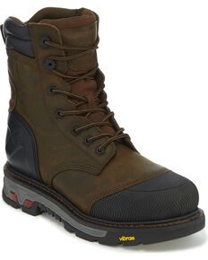 "Justin Men's Brown Warhawk Waterproof 8"" Work Boots - Composite Toe , Brown, hi-res"