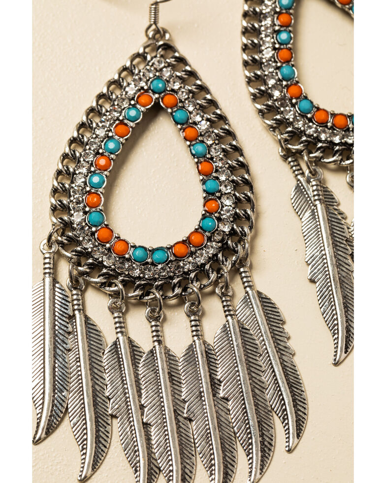 Shyanne Women's In The Oasis Teardrop Bling Feather Fringe Earrings , , hi-res