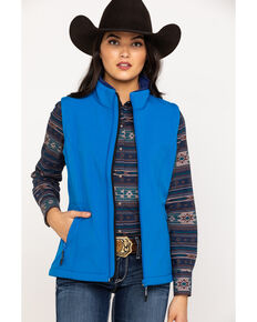 Roper Women's Blue Softshell Vest, Blue, hi-res