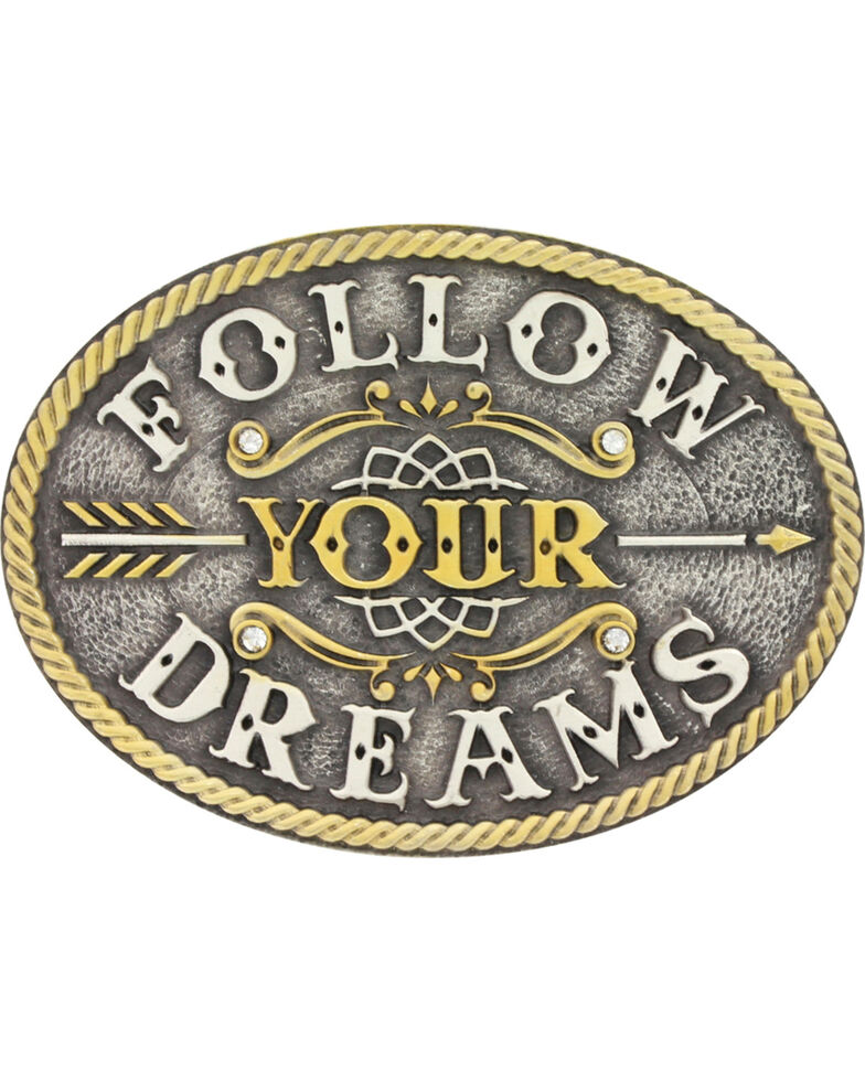 Montana Silversmiths Girls' Silver Follow Your Dreams Belt Buckle , Silver, hi-res