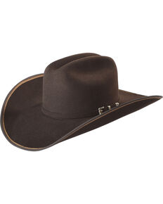 Justin Bent Rail Men s Chocolate 7X Hooked 2 Felt Cowboy Hat caf32e61b737