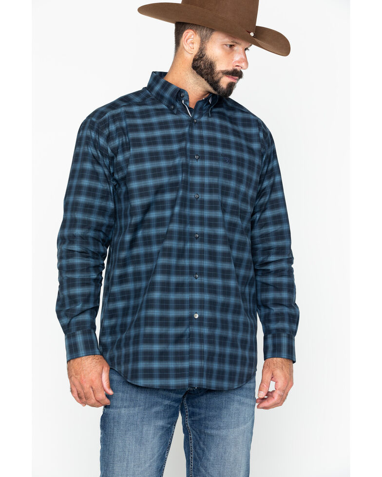Ariat Men's Calderas Medium Plaid Long Sleeve Western Shirt , Black, hi-res